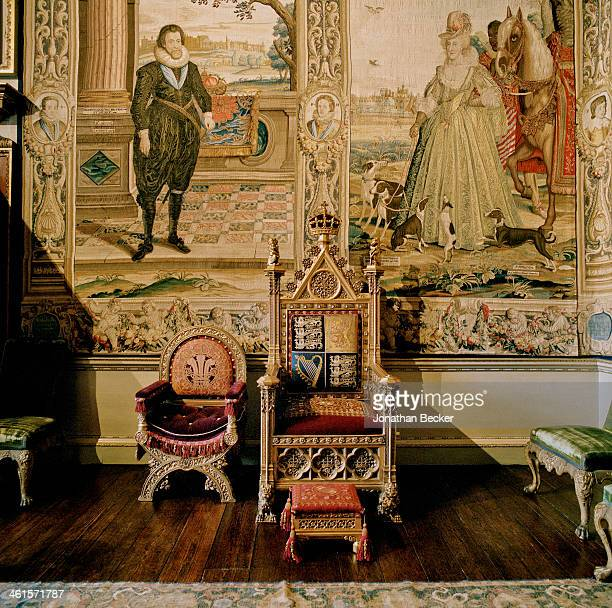 Houghton Hall is photographed for Vanity Fair Magazine on February 3 2013 in Norwich England Thrones used for the State Opening of Parliament are...