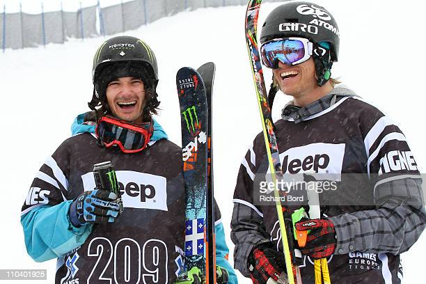 Houle of Canada takes first place and Andreas Hatveit of Norway takes second place and pose in the bottom of the Superpipe after the Ski Slopestyle...