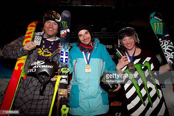 Houle of Canada takes first place Andreas Hatveit of Norway takes second place and James Woods of Great Britain takes third place and pose on the...