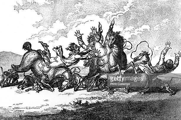 'Hounds throwing off' 1800 Illustration from Social Caricature in the Eighteenth Century With over two hundred illustrations by George Paston...