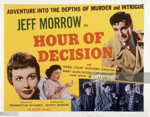 Hour Of Decision poster Jeff Morrow bottom from left Hazel Court Mary Laura Wood Carl Bernard Lionel Jeffries 1957