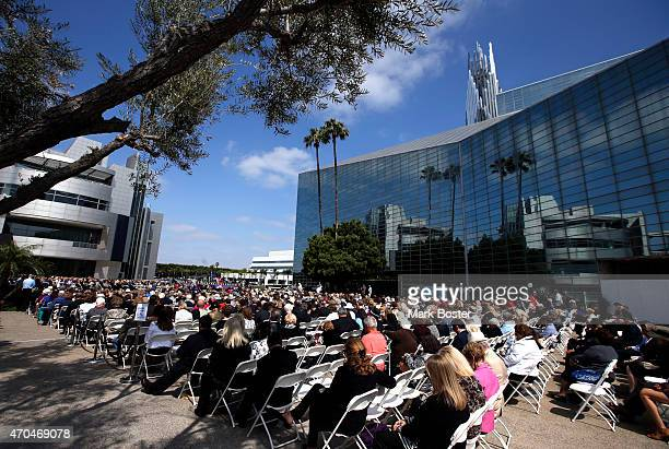 """Hour Of Power"""" and Crystal Cathedral founder, Robert H. Schuller is memorialized during public services in the plaza at the Christ Cathedral April..."""