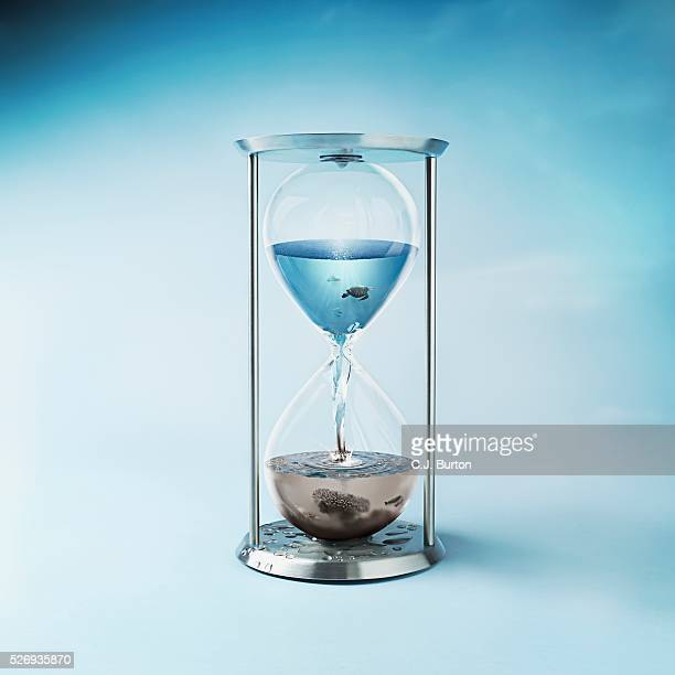 Hourglass with Clean Ocean Water in the Top and Dirty Polluted Water in Bottom