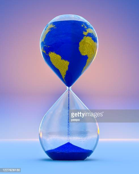 hourglass with sand pattern of countries of the world - environmental issues stock pictures, royalty-free photos & images