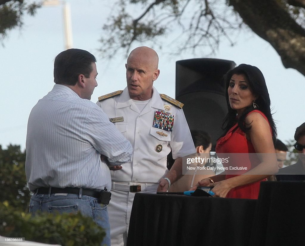 Hours after being identified as the whistleblower in the Gen. David Petraeus scandal, Jill Kelley attends birthday gathering with Vice Adm. Robert S. Harward, deputy commander of US Central Command, and her husband Scott Kelley at their home in Tampa, Fla.