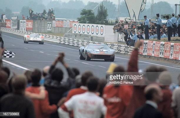 Hours Of Le Mans 1969. La 37ème édition des 24 Heures du Mans 1969 : à l'arrivée, la Ford GT40 de Jackie ICKX devance de quelques secondes la Porsche...