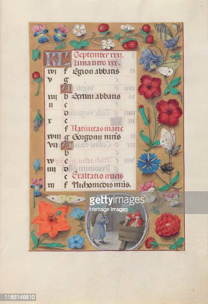 Hours of Queen Isabella the Catholic Queen of Spain Fol 10r September circa 1500 This manuscript was illuminated by a circle of at least five highly...
