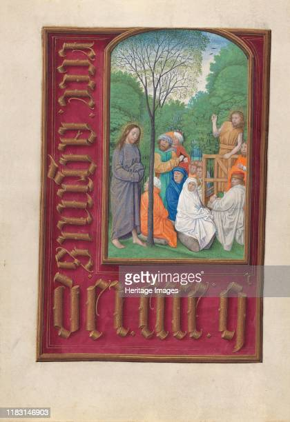Hours of Queen Isabella the Catholic Queen of Spain Fol 169v St John the Baptist Preaching circa 1500 This manuscript was illuminated by a circle of...