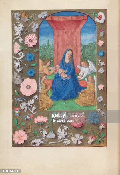 Hours of Queen Isabella the Catholic Queen of Spain Fol 80v Virgin Christ with Angels circa 1500 This manuscript was illuminated by a circle of at...