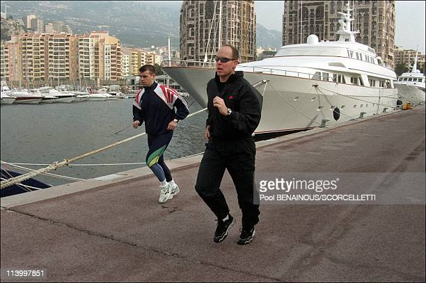48 hours with Prince Albert/ MC In Monaco City Monaco In March 1998Prince Albert jogs in the company of a bodyguard near the Principality's heliport