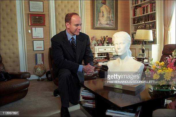 48 hours with Prince Albert/ MC In Monaco City Monaco In March 1998Prince Albert is presented with a Carraramarble bust of his mother the late...
