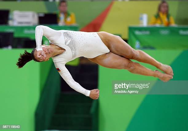 Houry Gebeshian of Armenia performs on the balance beam during the artistic gymnastics women's qualification at the 2016 Summer Olympics in Rio de...