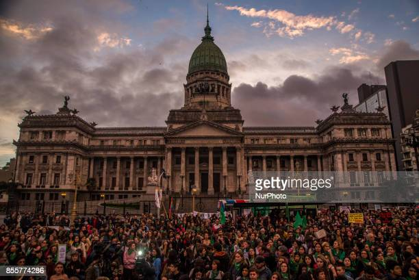 Housands of women marched from Plaza de Mayo to the Congress in Buenos Aires Argentina on 29 September 2017 under the slogan quotLegal Safe and Free...