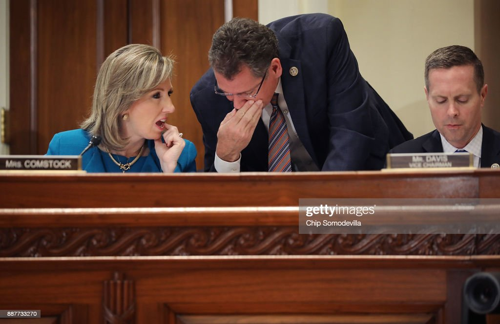 House Administration Committee member Rep. Barbara Comstock (R-VA) (L) talks with committee Chairman Gregg Harper (R-MS) a hearing on preventing sexual harassment in Congress in the Longworth House Office Building on Capitol Hill December 7, 2017 in Washington, DC. Committee members and staff tasked with handling sexual harassment cases in Congress agreed that the Congressional Accountability Act of 1995 needs to be revisited and reformed in the wake of recent accusations of harassment and resulting resignations.