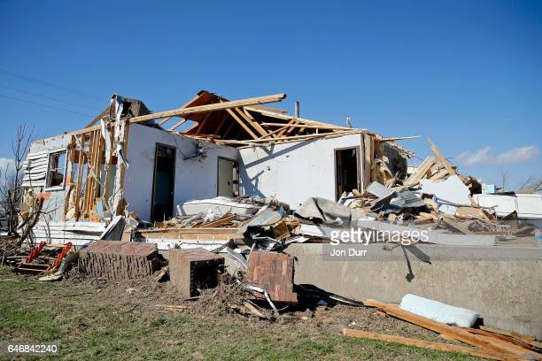 A house along Pcr 906 was destroyed during last night's tornado on March 1 2017 in Perryville Missouri At least one person was killed when the...