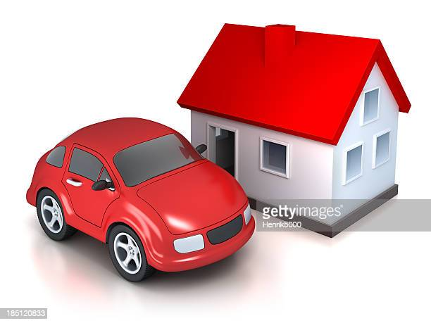 House and car - isolated on white with clipping path
