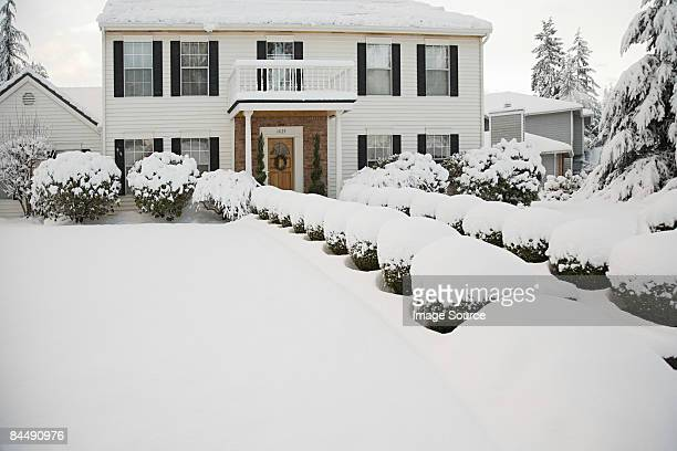 House and garden in the snow