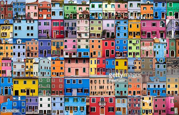 house and home in colour - xxxlarge - multi coloured stock pictures, royalty-free photos & images