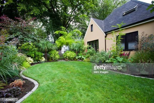 house and landscaped yard - aangelegd stockfoto's en -beelden