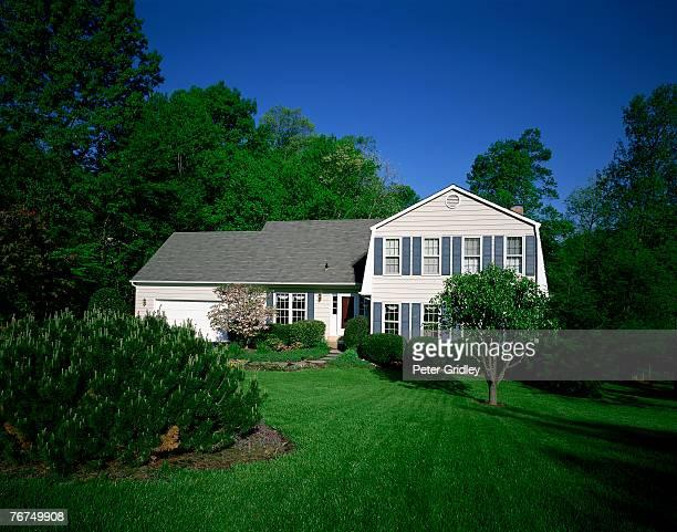 house and lawn - mezzanine photos et images de collection