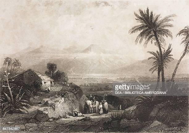 House and palm trees mountains in the background engraving from Greece Pictorial Descriptive and Historical by Christopher Wordsworth