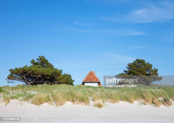 house and trees at beach behind dune against sky - mecklenburg vorpommern stock pictures, royalty-free photos & images