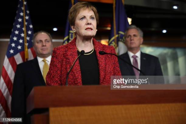 House Appropriations Committee ranking member Rep Kay Granger speaks during a news conference with House Minority Leader Kevin McCarthy and Minority...