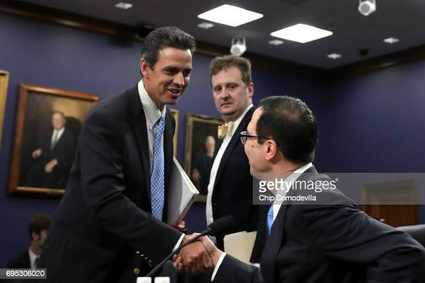 House Appropriations Committee's Financial Services and General Government Subcommittee Chairman Tom Graves greets US Treasury Secretary Steven...