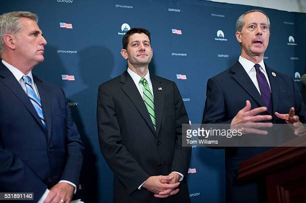 House Armed Services Committee Chairman Mac Thornberry, R-Texas, right, and Speaker Paul D. Ryan, R-Wis., center, and House Majority Leader Kevin...