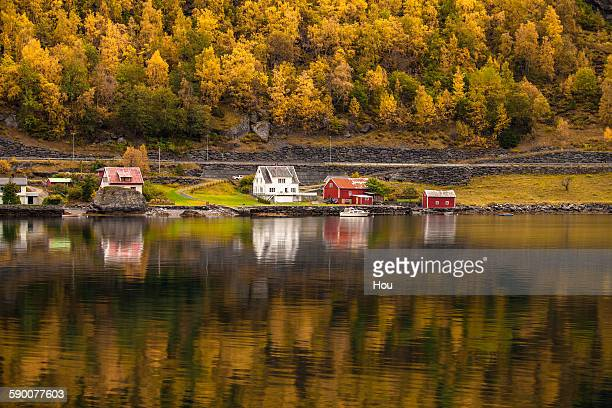 House at Sognefjord in fall, Norway
