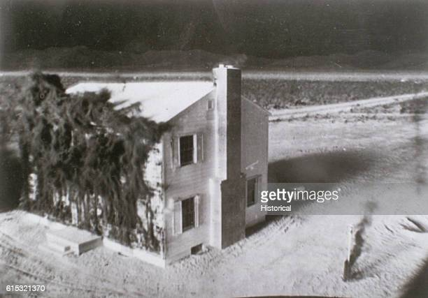 A house at Survival City hit by the first par of the Annie blast's shockwave during Operation UPSHOTKNOTHOLE