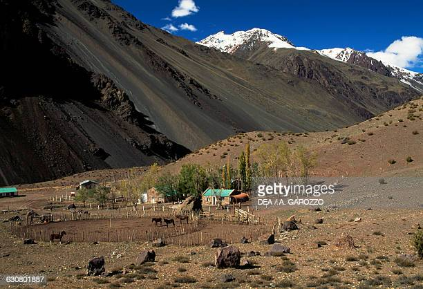 House at the foot of a mountain Andean landscape Mendoza province Argentina