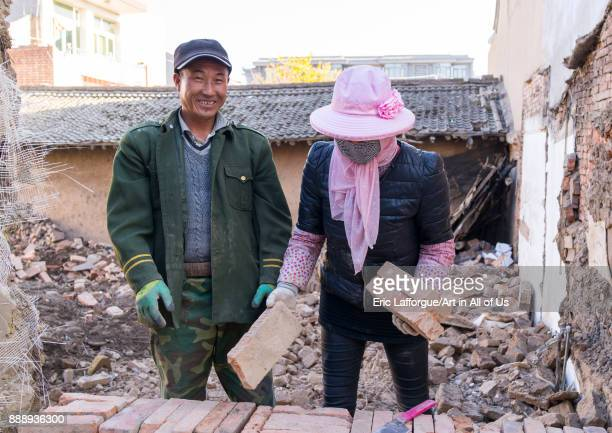 House being renovated by chinese workers in conservation area Gansu province Linxia China on November 1 2017 in Linxia China