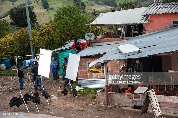 A house being used as a location is seen during the shooting of the movie Blunt Force Trauma on October 8 near Choachi Cundinamarca deparment...