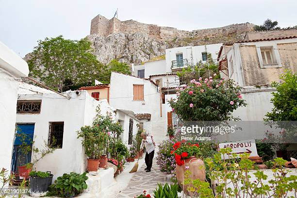 house below the acropolis of athens - sweeping stock pictures, royalty-free photos & images