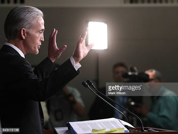 House Benghazi Committee Chairman Trey Gowdy participates in a news conference with fellow Committee Republicans on Capitol Hill June 28 2016 in...