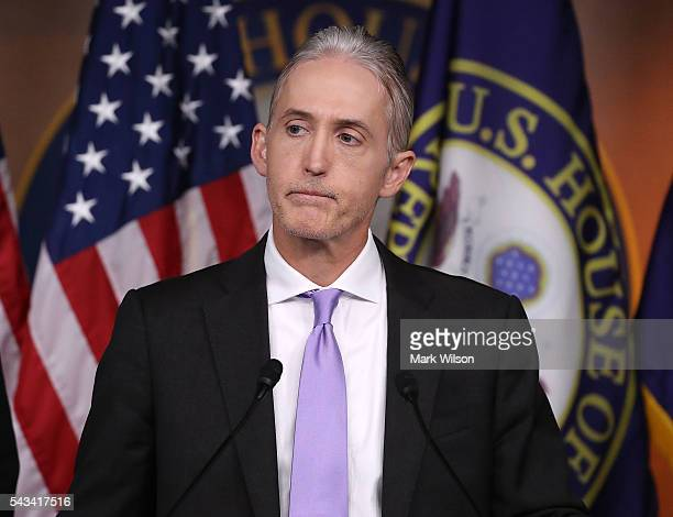 House Benghazi Committee Chairman Trey Gowdy participates in a news conference with fellow Committee Republicans after the release of the Committee's...