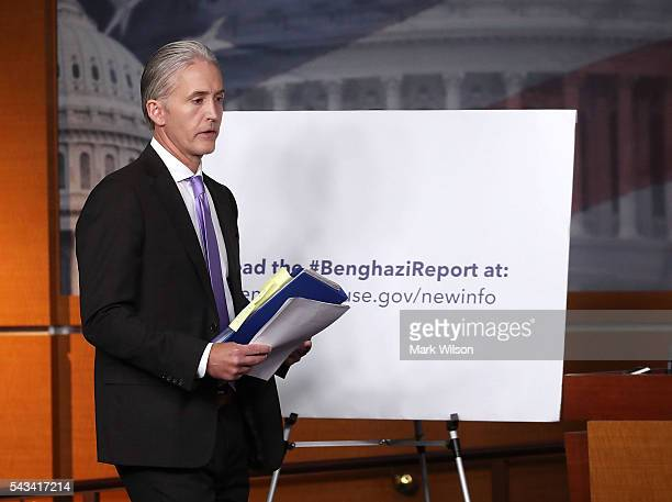 House Benghazi Committee Chairman Trey Gowdy walks into a news conference with fellow Committee Republicans after the release of the Committees...
