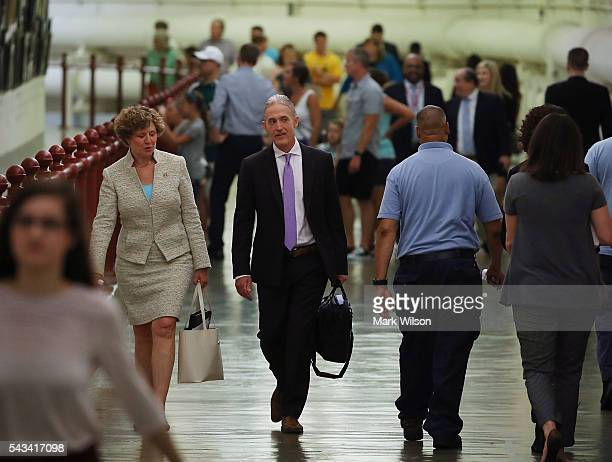 House Benghazi Committee Chairman Trey Gowdy walks to a news conference with Rep Susan Brooks to talk about the Committees Benghazi report on Capitol...