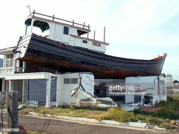 house boat - tsunami aceh stock photos and pictures