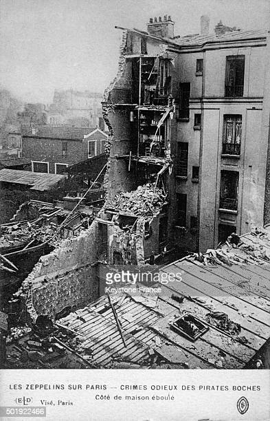 House Bombed By Graf Zeppelin During the World War I in Paris France circa 1916
