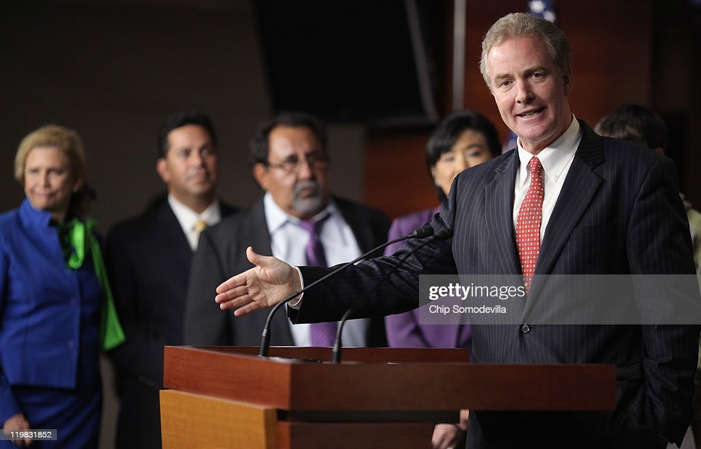 House Budget Committee ranking member Chris Van Hollen (D-MD) speaks during a news conference with members of the House Democratic caucus July 25, 2011 in Washington, DC. The lawmakers accused their Republicans colleagues of adding what Democrats call 'job killing' proposals as part of the ongoing budget and debt ceiling negotiations.