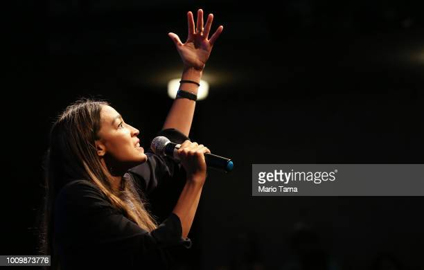 House candidate Alexandria Ocasio-Cortez speaks at a progressive fundraiser on August 2, 2018 in Los Angeles, California. The rising political star...