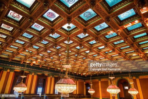 house chamber ceiling - michigan state capitol stock pictures, royalty-free photos & images