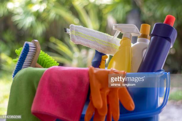 house cleaning product on the table, outdoor - 清掃用具 ストックフォトと画像