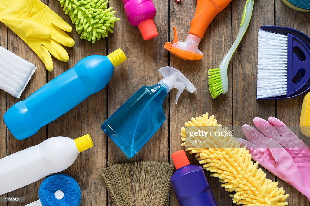 House cleaning product on wood table : Stock Photo