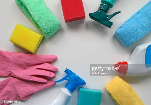 house cleaning supplies on white background - clorox bleach stock pictures, royalty-free photos & images
