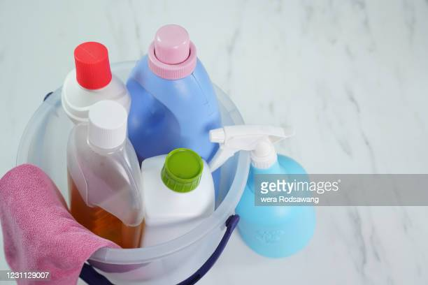 house cleaning supplies - bleach stock pictures, royalty-free photos & images