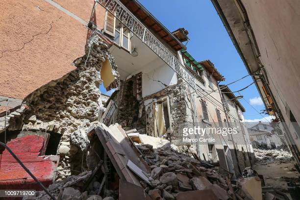 A house completely collapsed after the earthquake that hit the city of Amatrice in central Italy