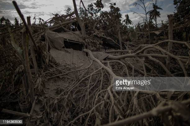 A house damaged by a fallen tree branch is seen covered in volcanic ash from Taal Volcano's eruption on January 18 2020 in Talisay Batangas province...